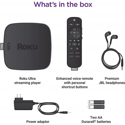 Roku Ultra 2020 Streaming Media Player HD/4K/HDR/Dolby Vision, Dolby ATMOS, Bluetooth, Voice Remote with Headphone Jack, Premium HDMI Cable