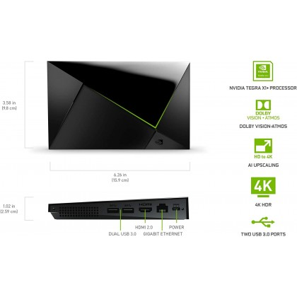 NVIDIA Shield Android TV Pro 4K HDR Streaming Media Player; High Performance, Dolby Vision, 3GB RAM, 2X USB, Works with Alexa (Smarter Home)