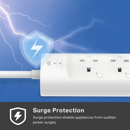 TP-Link Kasa KP303 Smart Wi-Fi Power Strip, 3-Outlets (UK 3 Pin) Power Extension Plug Sockets with Surge Protection (2 USB Charger Ports)