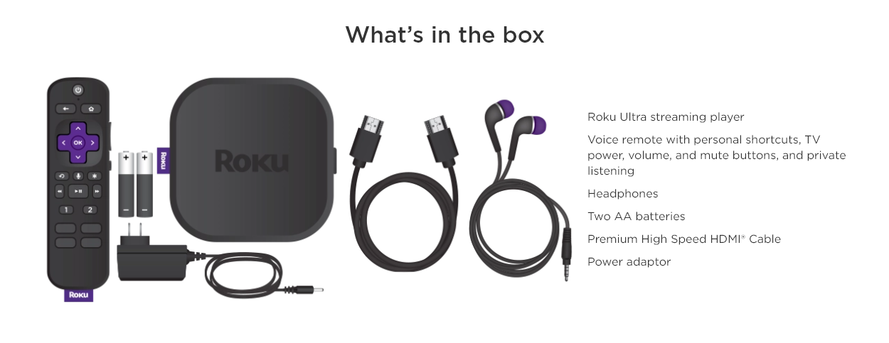 What's in the box. Roku Ultra streaming player Voice remote with personal shortcuts, TV power, volume, and mute buttons, and private listening Headphones Two AA batteries Premium High Speed HDMI® Cable Power adaptor